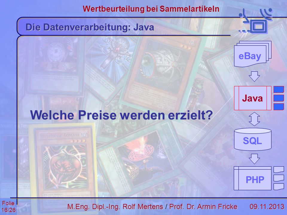 Folie16/2609.11.2013 Wertbeurteilung bei Sammelartikeln M.Eng. Dipl.-Ing. Rolf MertensProf. Dr. Armin Fricke M.Eng. Dipl.-Ing. Rolf Mertens / Prof. Dr