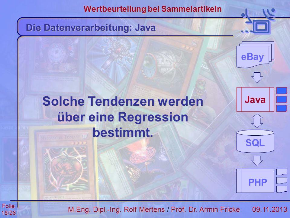 Folie18/2609.11.2013 Wertbeurteilung bei Sammelartikeln M.Eng. Dipl.-Ing. Rolf MertensProf. Dr. Armin Fricke M.Eng. Dipl.-Ing. Rolf Mertens / Prof. Dr