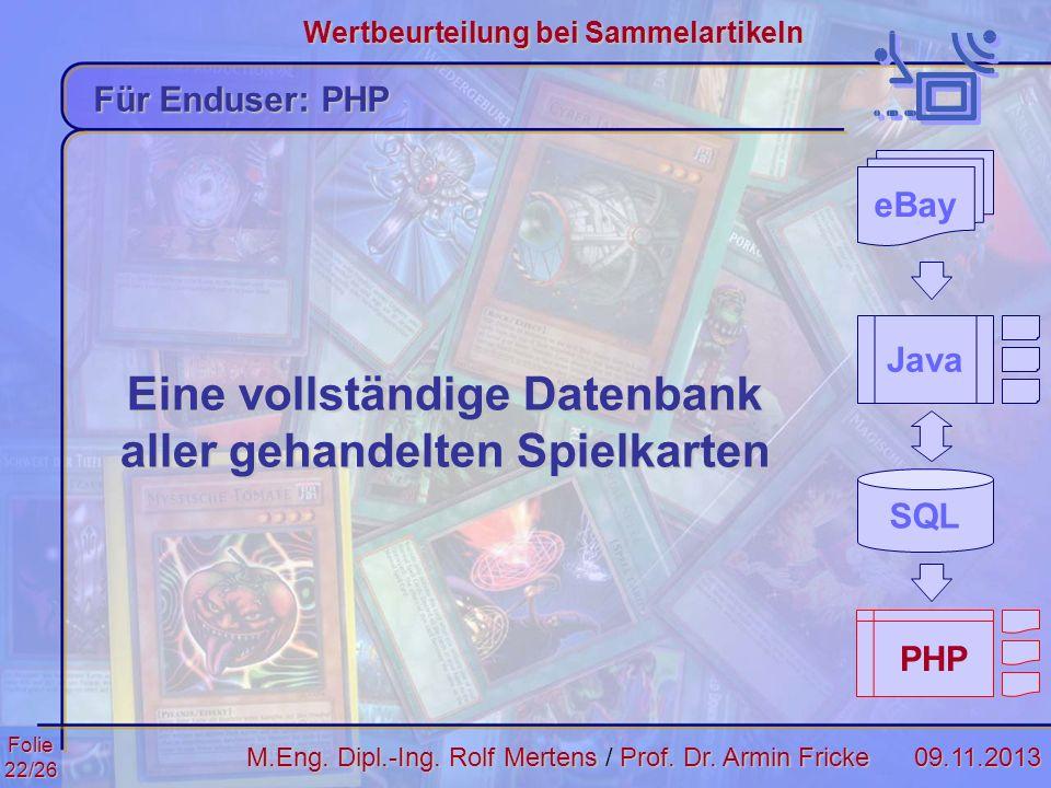 Folie22/2609.11.2013 Wertbeurteilung bei Sammelartikeln M.Eng. Dipl.-Ing. Rolf MertensProf. Dr. Armin Fricke M.Eng. Dipl.-Ing. Rolf Mertens / Prof. Dr