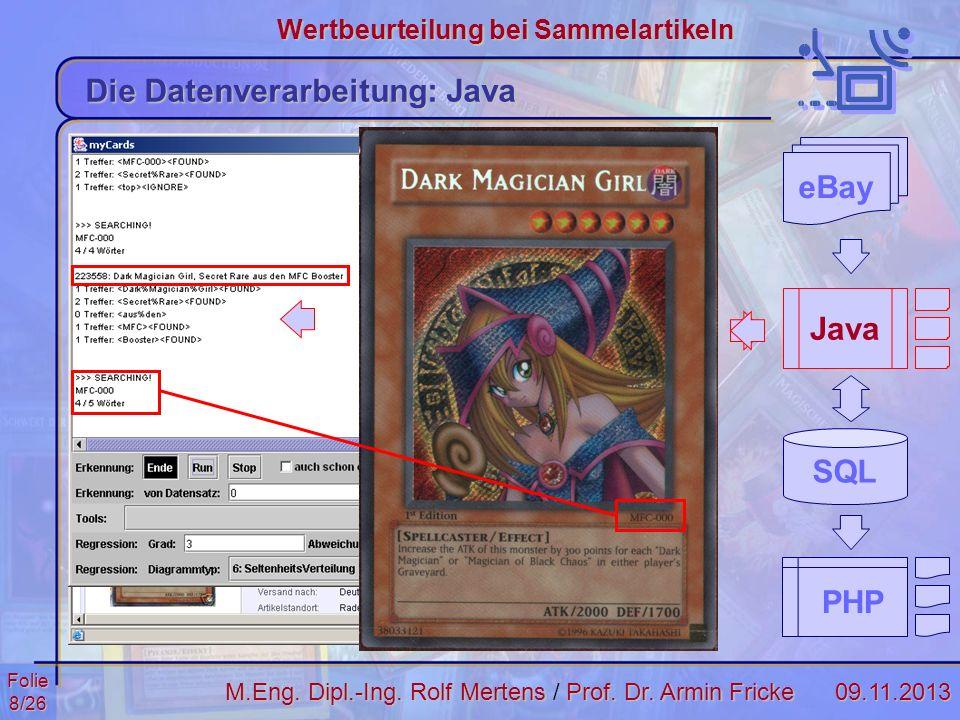 Folie8/2609.11.2013 Wertbeurteilung bei Sammelartikeln M.Eng. Dipl.-Ing. Rolf MertensProf. Dr. Armin Fricke M.Eng. Dipl.-Ing. Rolf Mertens / Prof. Dr.