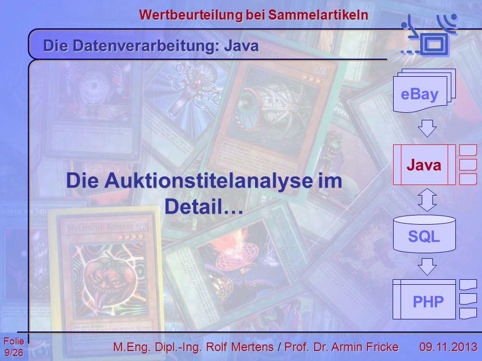 Folie9/2609.11.2013 Wertbeurteilung bei Sammelartikeln M.Eng. Dipl.-Ing. Rolf MertensProf. Dr. Armin Fricke M.Eng. Dipl.-Ing. Rolf Mertens / Prof. Dr.
