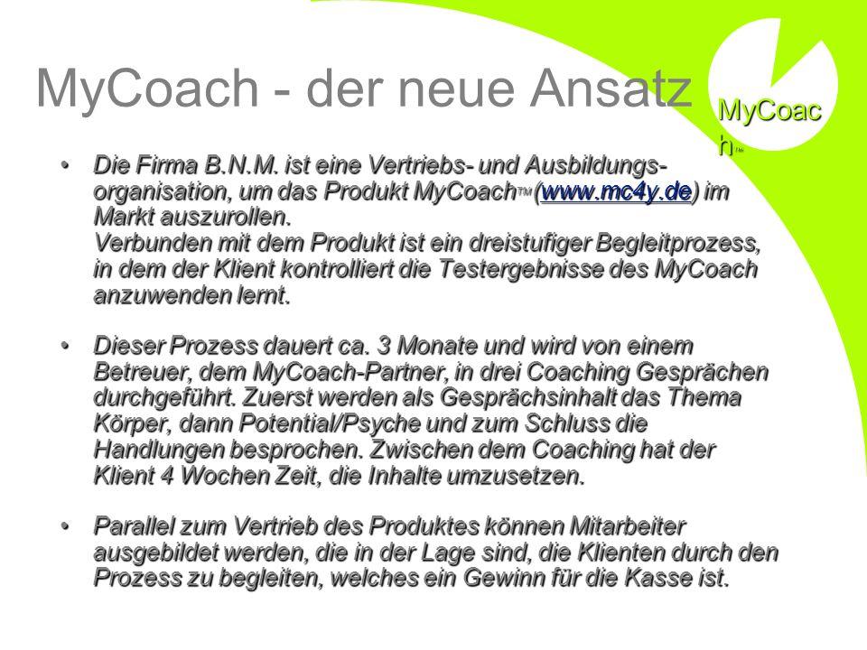 MyCoach - der neue Ansatz Die Firma B.N.M. ist eine Vertriebs- und Ausbildungs- organisation, um das Produkt MyCoach TM (www.mc4y.de) im Markt auszuro