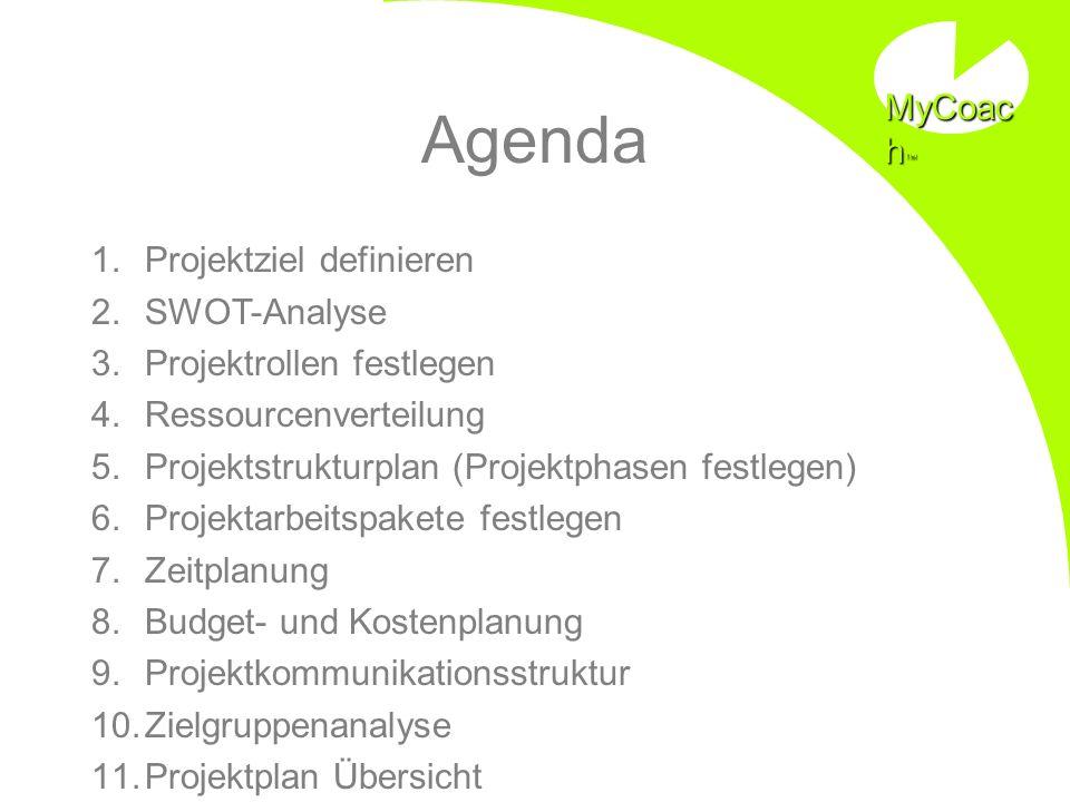 Agenda 1.Projektziel definieren 2.SWOT-Analyse 3.Projektrollen festlegen 4.Ressourcenverteilung 5.Projektstrukturplan (Projektphasen festlegen) 6.Proj