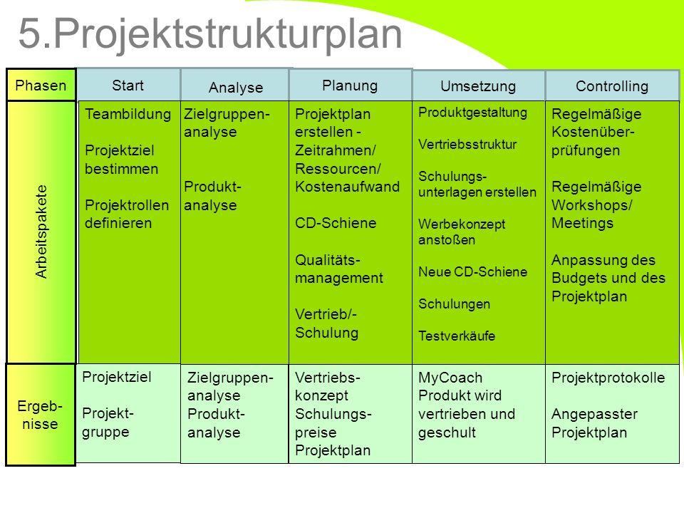 Start Analyse Planung Umsetzung Zielgruppen- analyse Produkt- analyse Teambildung Projektziel bestimmen Projektrollen definieren Projektplan erstellen