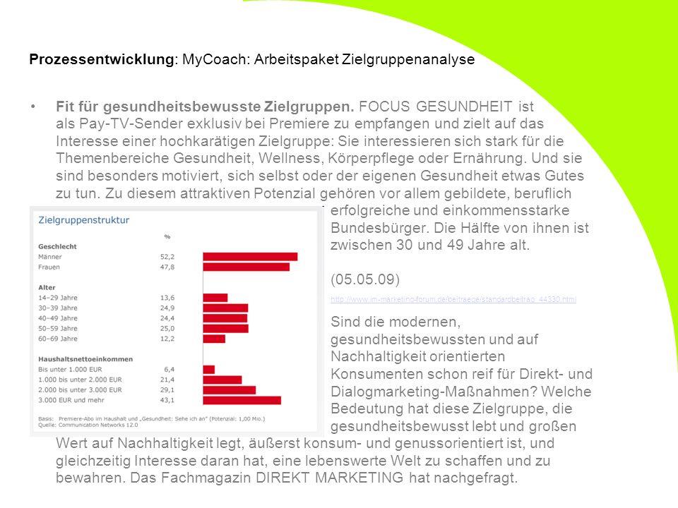 Prozessentwicklung: MyCoach: Arbeitspaket Zielgruppenanalyse Fit für gesundheitsbewusste Zielgruppen. FOCUS GESUNDHEIT ist als Pay-TV-Sender exklusiv