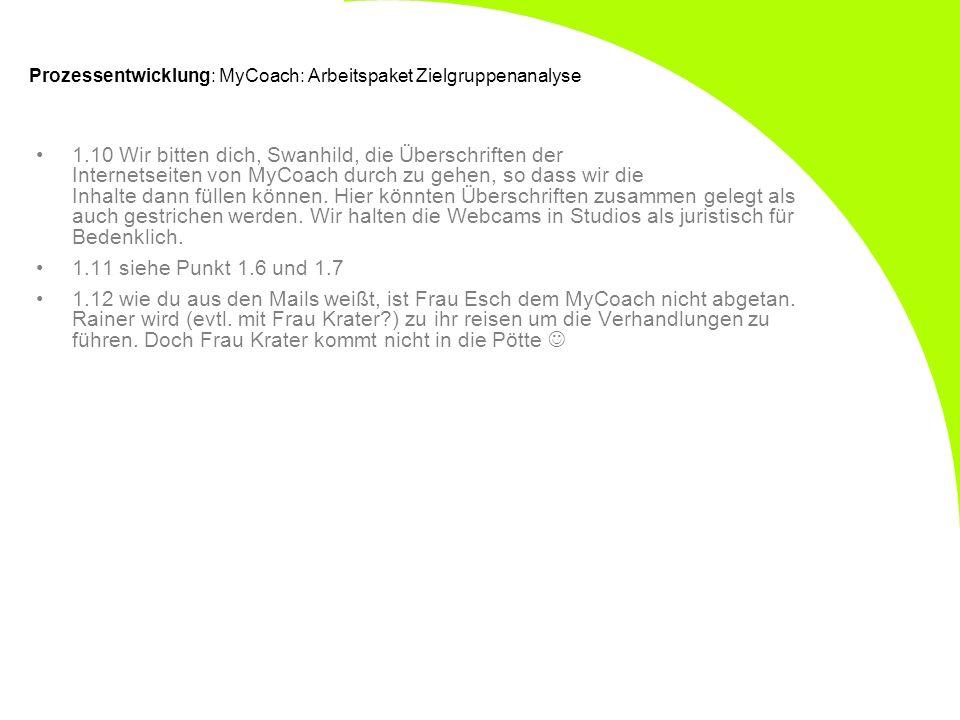 Prozessentwicklung: MyCoach: Arbeitspaket Zielgruppenanalyse 1.10 Wir bitten dich, Swanhild, die Überschriften der Internetseiten von MyCoach durch zu