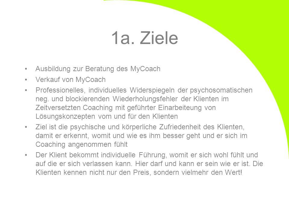 1a. Ziele Ausbildung zur Beratung des MyCoach Verkauf von MyCoach Professionelles, individuelles Widerspiegeln der psychosomatischen neg. und blockier