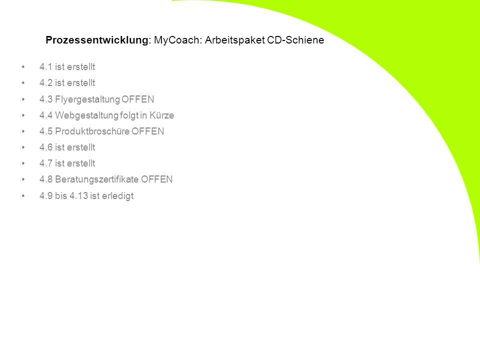 Prozessentwicklung: MyCoach: Arbeitspaket CD-Schiene 4.1 ist erstellt 4.2 ist erstellt 4.3 Flyergestaltung OFFEN 4.4 Webgestaltung folgt in Kürze 4.5