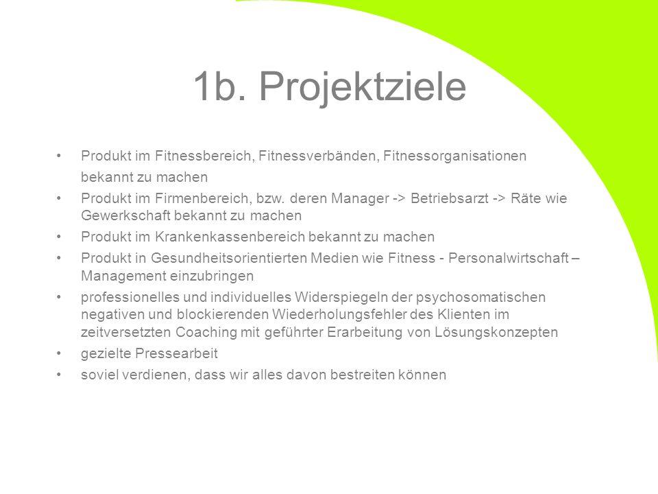 1b. Projektziele Produkt im Fitnessbereich, Fitnessverbänden, Fitnessorganisationen bekannt zu machen Produkt im Firmenbereich, bzw. deren Manager ->