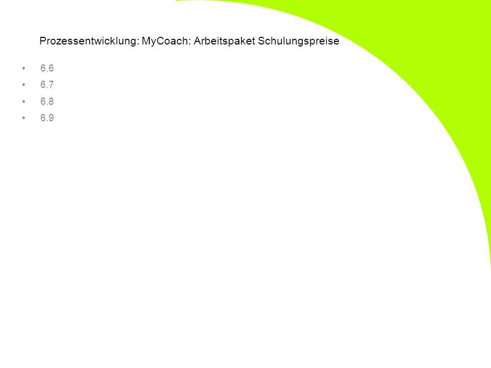 Prozessentwicklung: MyCoach: Arbeitspaket Schulungspreise 6.6 6.7 6.8 6.9