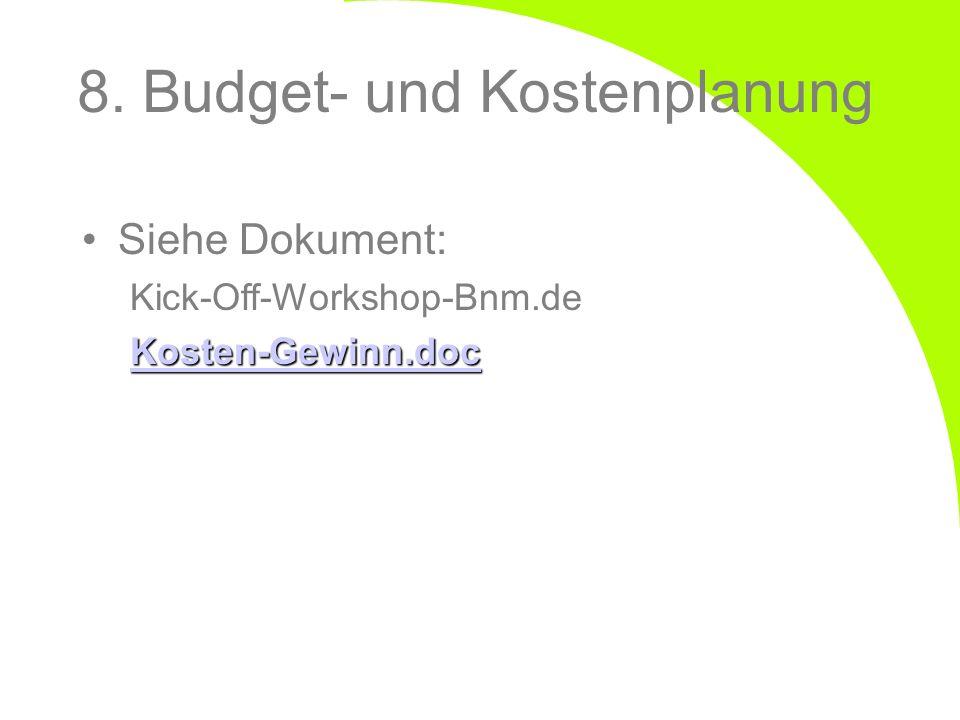 Siehe Dokument: Kick-Off-Workshop-Bnm.de Kosten-Gewinn.doc 8. Budget- und Kostenplanung