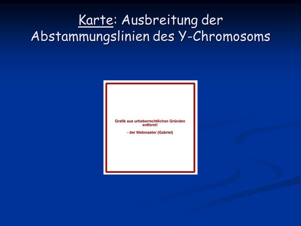 Karte: Ausbreitung der Abstammungslinien des Y-Chromosoms