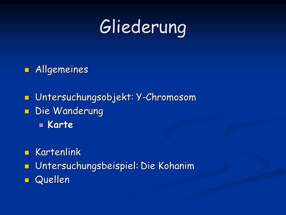 Gliederung Allgemeines Allgemeines Untersuchungsobjekt: Y-Chromosom Untersuchungsobjekt: Y-Chromosom Die Wanderung Die Wanderung Karte Karte Kartenlin