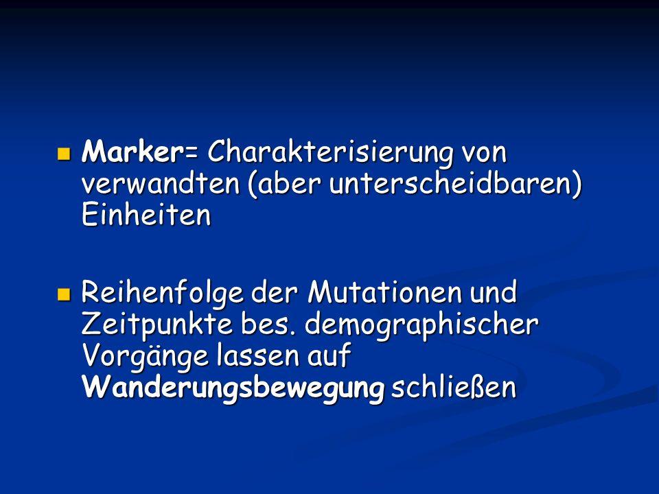 Marker= Charakterisierung von verwandten (aber unterscheidbaren) Einheiten Marker= Charakterisierung von verwandten (aber unterscheidbaren) Einheiten