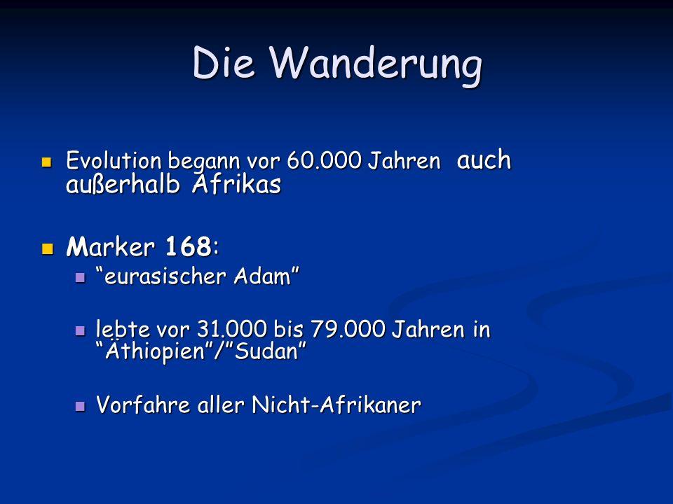Die Wanderung Evolution begann vor 60.000 Jahren auch außerhalb Afrikas Evolution begann vor 60.000 Jahren auch außerhalb Afrikas Marker 168: Marker 1