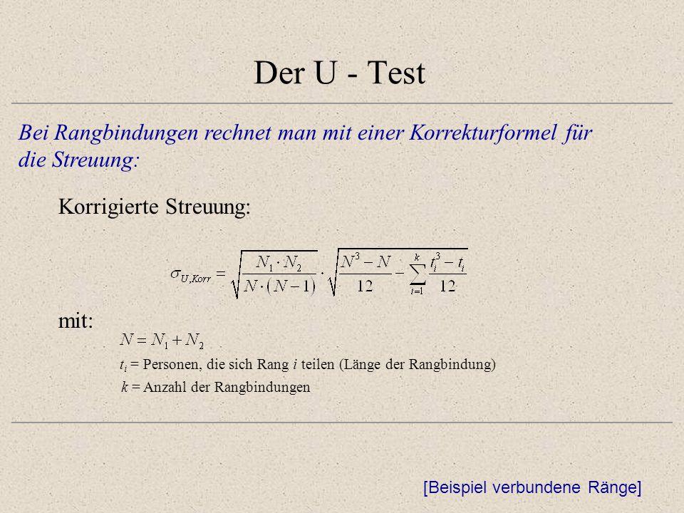 Der U - Test Bei Rangbindungen rechnet man mit einer Korrekturformel für die Streuung: Korrigierte Streuung: [Beispiel verbundene Ränge] mit: t i = Personen, die sich Rang i teilen (Länge der Rangbindung) k = Anzahl der Rangbindungen