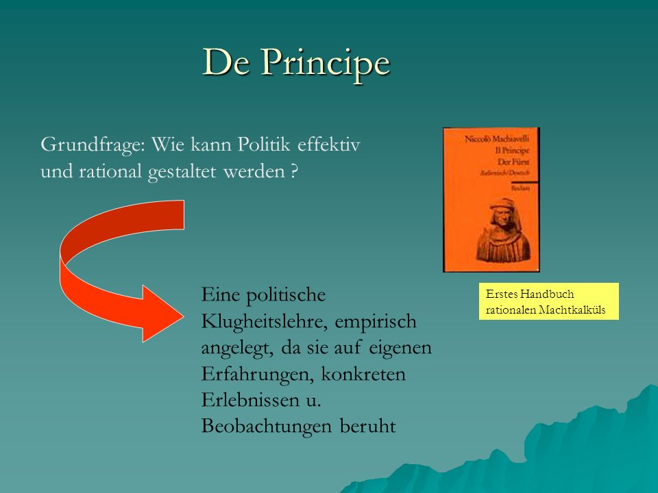 De Principe Grundfrage: Wie kann Politik effektiv und rational gestaltet werden ? Erstes Handbuch rationalen Machtkalküls Eine politische Klugheitsleh