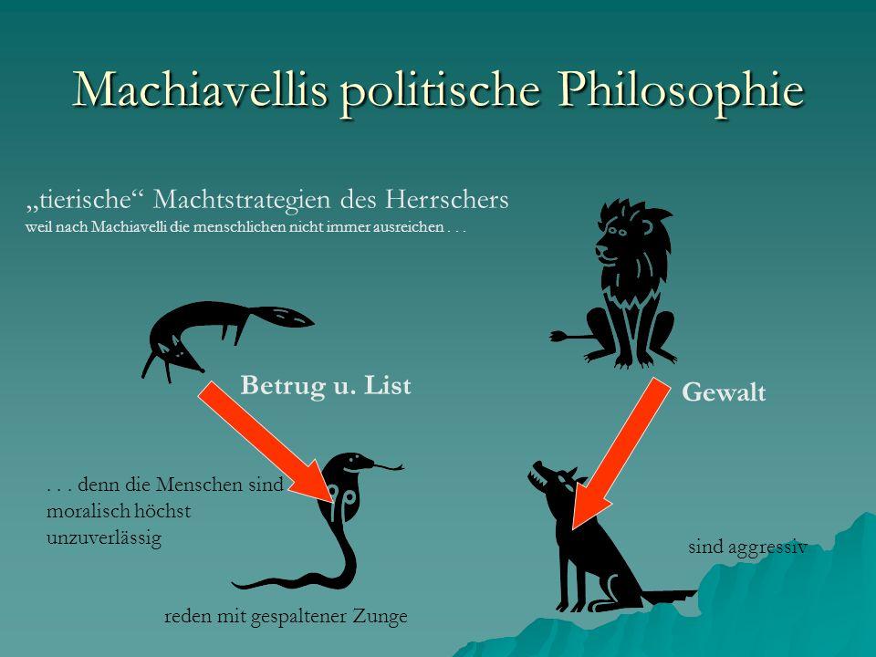 Machiavellis politische Philosophie der Herrscher nutzt eine Charaktermaske für die Kunst politischer Inszenierung = bei Unruhen: entschlossen wenn der öffentliche Friede es fordert: wohltätig u.