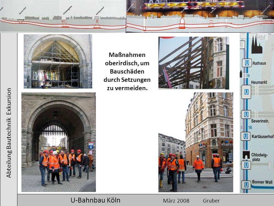 Abteilung Bautechnik Exkursion U-Bahnbau Köln März 2008 Gruber Maßnahmen oberirdisch, um Bauschäden durch Setzungen zu vermeiden.