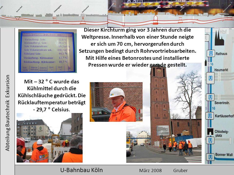 Abteilung Bautechnik Exkursion U-Bahnbau Köln März 2008 Gruber Dieser Kirchturm ging vor 3 Jahren durch die Weltpresse. Innerhalb von einer Stunde nei