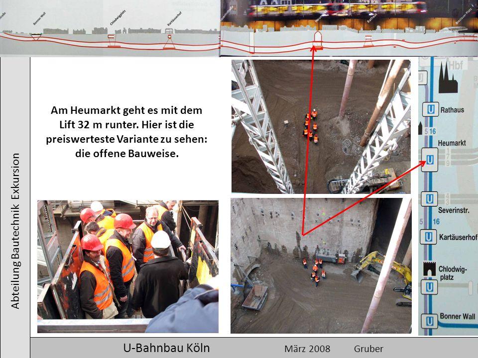 Abteilung Bautechnik Exkursion U-Bahnbau Köln März 2008 Gruber Am Heumarkt geht es mit dem Lift 32 m runter. Hier ist die preiswerteste Variante zu se