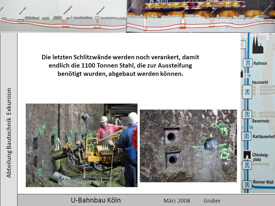 Abteilung Bautechnik Exkursion U-Bahnbau Köln März 2008 Gruber Die letzten Schlitzwände werden noch verankert, damit endlich die 1100 Tonnen Stahl, di