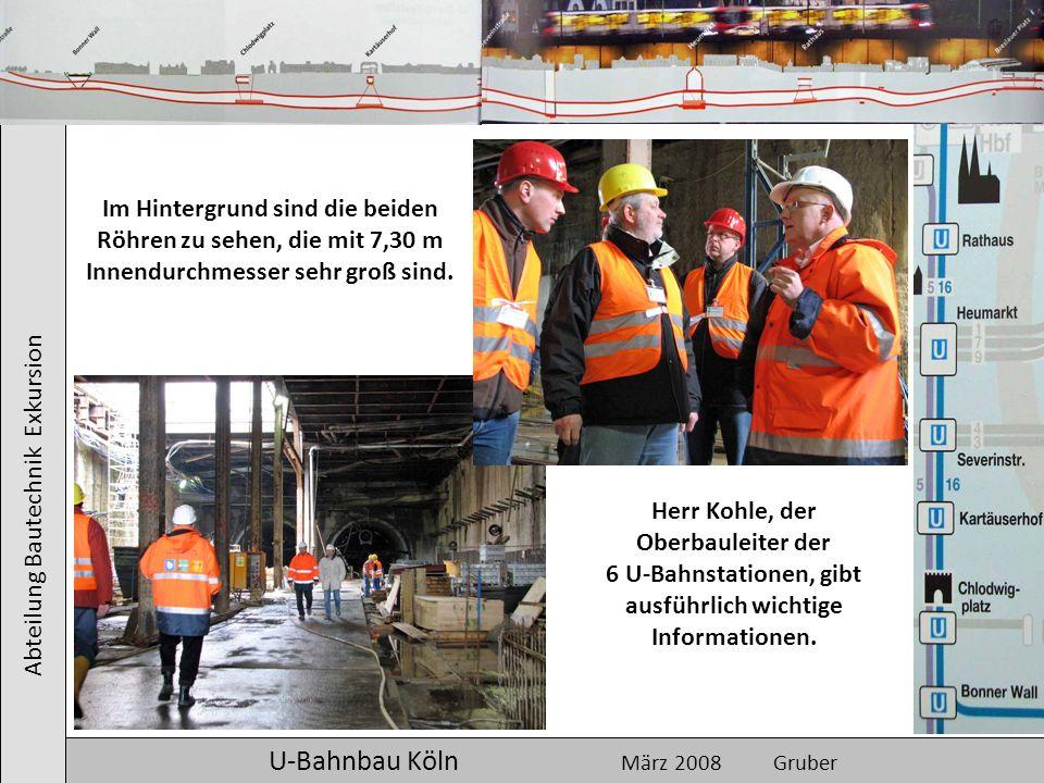 Abteilung Bautechnik Exkursion U-Bahnbau Köln März 2008 Gruber Im Hintergrund sind die beiden Röhren zu sehen, die mit 7,30 m Innendurchmesser sehr gr