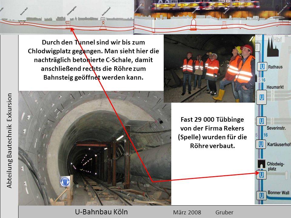 Abteilung Bautechnik Exkursion U-Bahnbau Köln März 2008 Gruber Durch den Tunnel sind wir bis zum Chlodwigplatz gegangen. Man sieht hier die nachträgli
