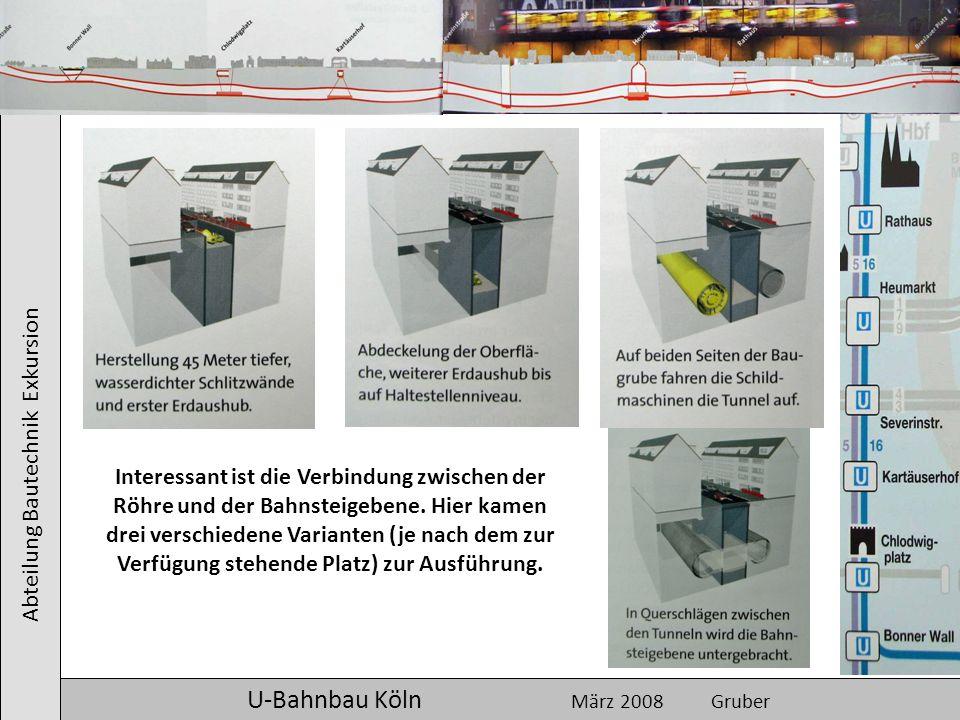 Abteilung Bautechnik Exkursion U-Bahnbau Köln März 2008 Gruber Interessant ist die Verbindung zwischen der Röhre und der Bahnsteigebene. Hier kamen dr
