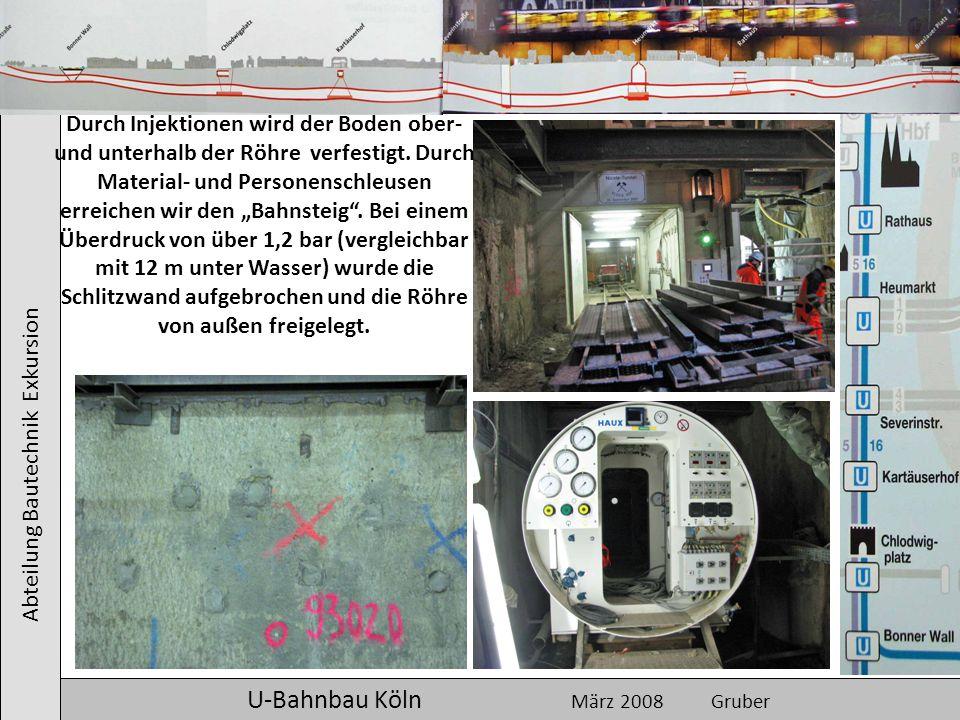 Abteilung Bautechnik Exkursion U-Bahnbau Köln März 2008 Gruber Durch Injektionen wird der Boden ober- und unterhalb der Röhre verfestigt. Durch Materi