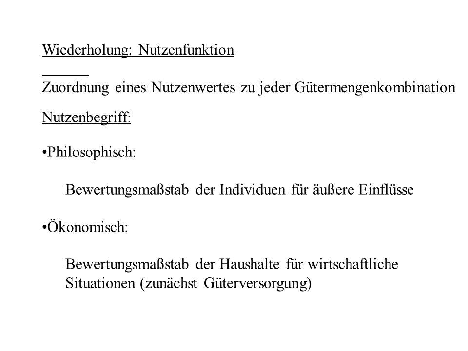 0 2 4 6 8 10 0 2 4 6 8 0 2.5 5 7.5 10 0 2 4 6 8 q1q1 q1q1 U U(q 1, q 2 ) Nutzengebirge U= U(q 1, q 1 )=q 1 * q 2 0,5