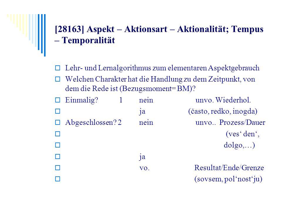 [28163] Aspekt – Aktionsart – Aktionalität; Tempus – Temporalität Lehr- und Lernalgorithmus zum elementaren Aspektgebrauch Welchen Charakter hat die H