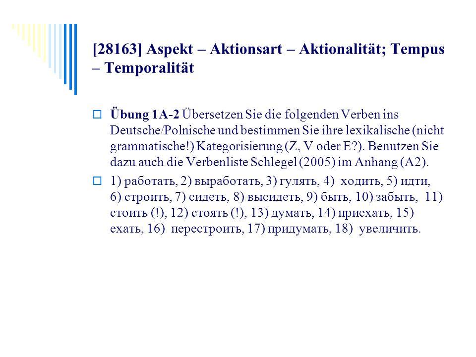 [28163] Aspekt – Aktionsart – Aktionalität; Tempus – Temporalität Übung 1A-2 Übersetzen Sie die folgenden Verben ins Deutsche/Polnische und bestimmen