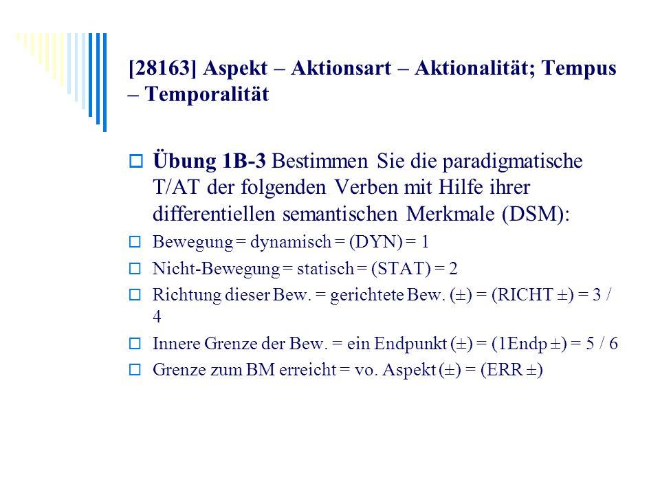 [28163] Aspekt – Aktionsart – Aktionalität; Tempus – Temporalität Übung 1B-3 Bestimmen Sie die paradigmatische T/AT der folgenden Verben mit Hilfe ihr