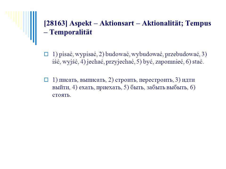 [28163] Aspekt – Aktionsart – Aktionalität; Tempus – Temporalität 1) pisać, wypisać, 2) budować, wybudować, przebudować, 3) iść, wyjść, 4) jechać, prz