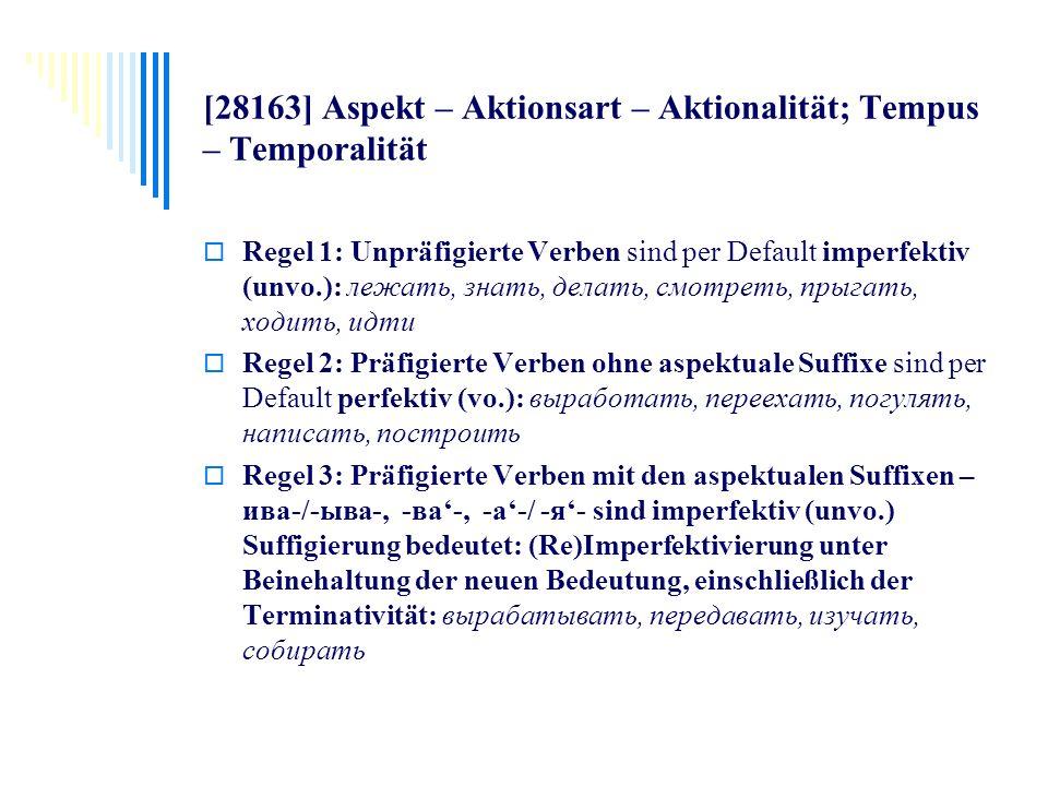[28163] Aspekt – Aktionsart – Aktionalität; Tempus – Temporalität Regel 1: Unpräfigierte Verben sind per Default imperfektiv (unvo.): лежать, знать, д