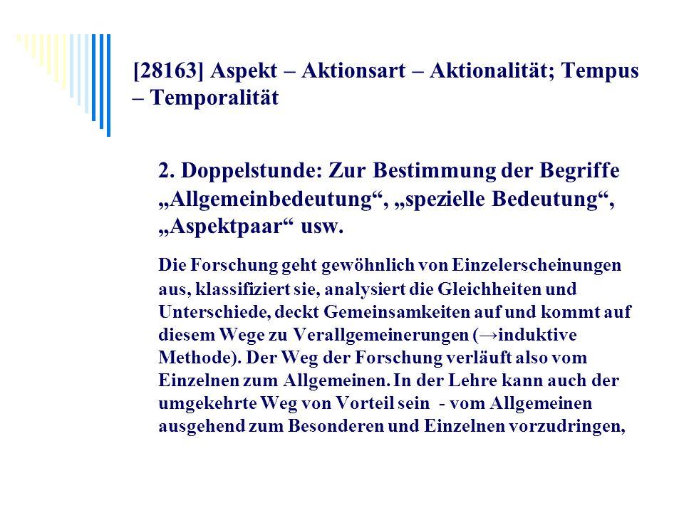 [28163] Aspekt – Aktionsart – Aktionalität; Tempus – Temporalität 2. Doppelstunde: Zur Bestimmung der Begriffe Allgemeinbedeutung, spezielle Bedeutung