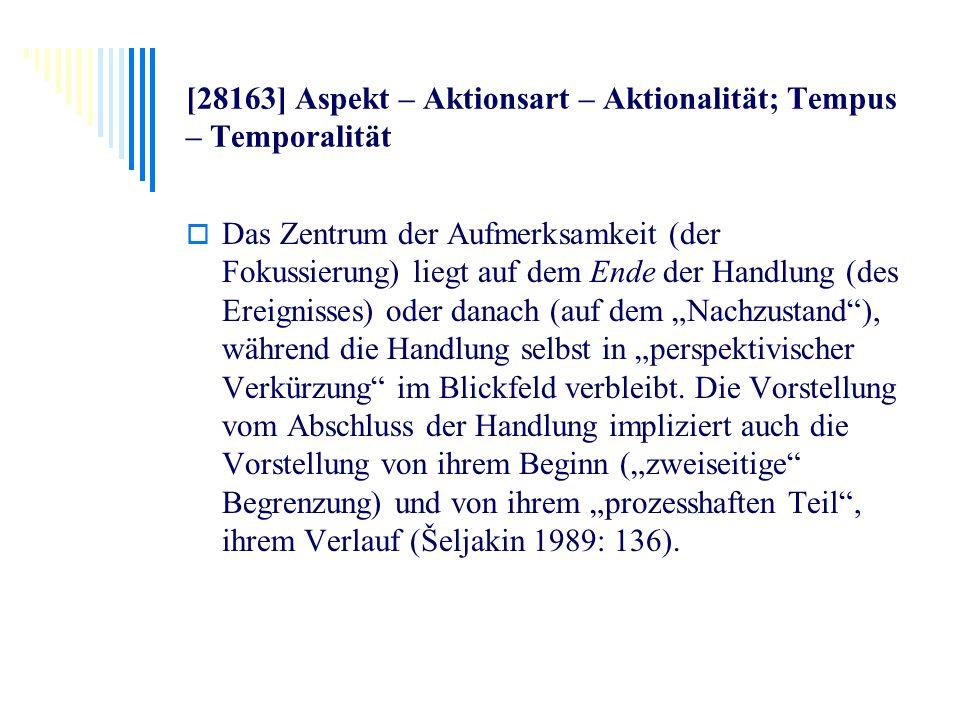 [28163] Aspekt – Aktionsart – Aktionalität; Tempus – Temporalität Das Zentrum der Aufmerksamkeit (der Fokussierung) liegt auf dem Ende der Handlung (d