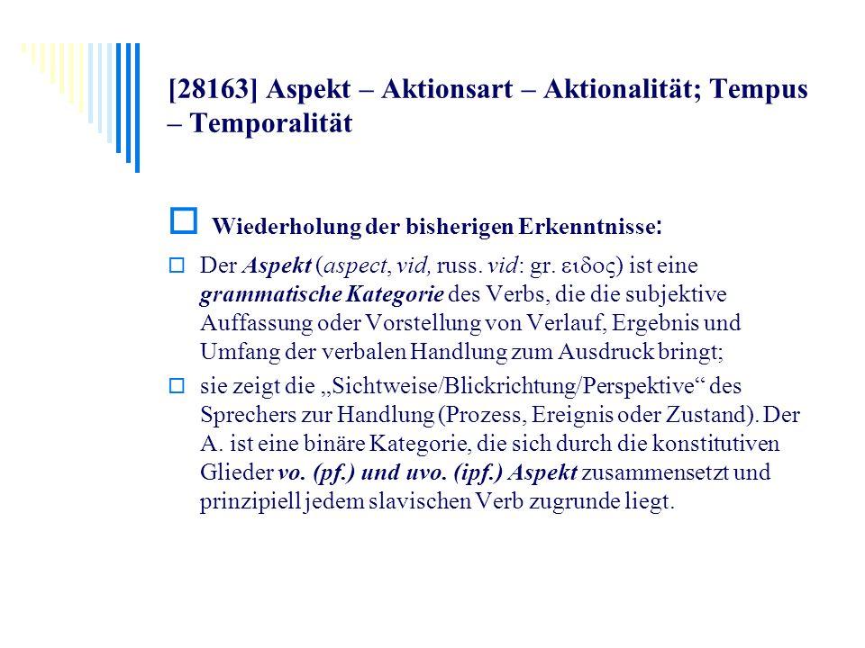 [28163] Aspekt – Aktionsart – Aktionalität; Tempus – Temporalität Wiederholung der bisherigen Erkenntnisse : Der Aspekt (aspect, vid, russ. vid: gr. ς