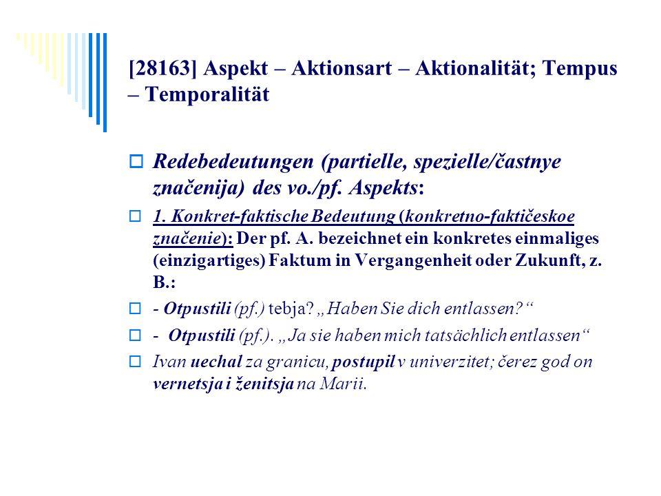 [28163] Aspekt – Aktionsart – Aktionalität; Tempus – Temporalität Redebedeutungen (partielle, spezielle/častnye značenija) des vo./pf. Aspekts: 1. Kon