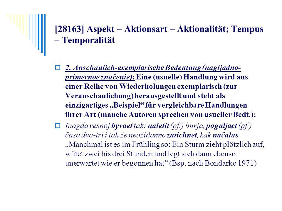 [28163] Aspekt – Aktionsart – Aktionalität; Tempus – Temporalität 2. Anschaulich-exemplarische Bedeutung (nagljadno- primernoe značenie): Eine (usuell
