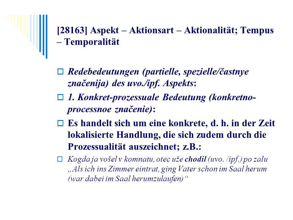 [28163] Aspekt – Aktionsart – Aktionalität; Tempus – Temporalität Redebedeutungen (partielle, spezielle/častnye značenija) des uvo./ipf. Aspekts: 1. K