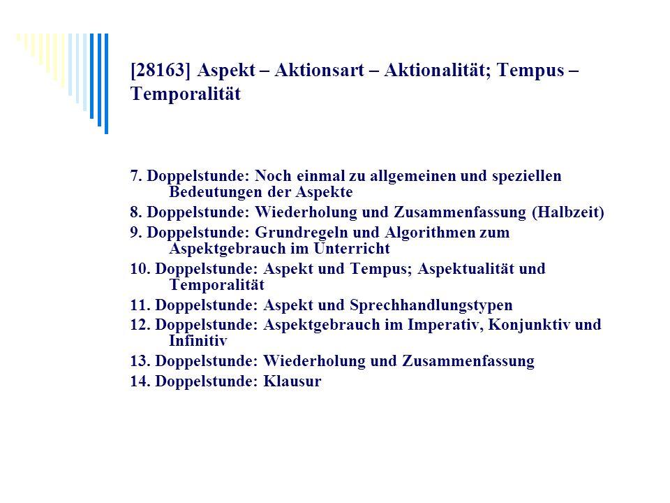 [28163] Aspekt – Aktionsart – Aktionalität; Tempus – Temporalität 7. Doppelstunde: Noch einmal zu allgemeinen und speziellen Bedeutungen der Aspekte 8