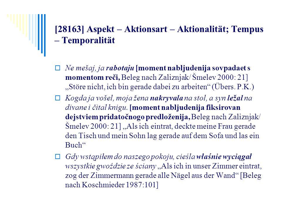 [28163] Aspekt – Aktionsart – Aktionalität; Tempus – Temporalität Ne mešaj, ja rabotaju [moment nabljudenija sovpadaet s momentom reči, Beleg nach Zal
