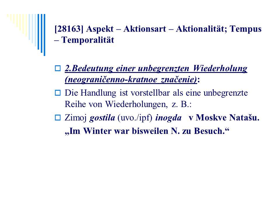 [28163] Aspekt – Aktionsart – Aktionalität; Tempus – Temporalität 2.Bedeutung einer unbegrenzten Wiederholung (neograničenno-kratnoe značenie): Die Ha