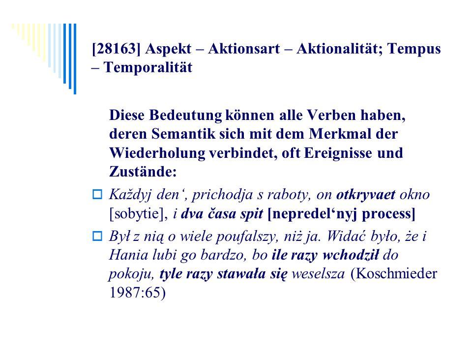[28163] Aspekt – Aktionsart – Aktionalität; Tempus – Temporalität Diese Bedeutung können alle Verben haben, deren Semantik sich mit dem Merkmal der Wi