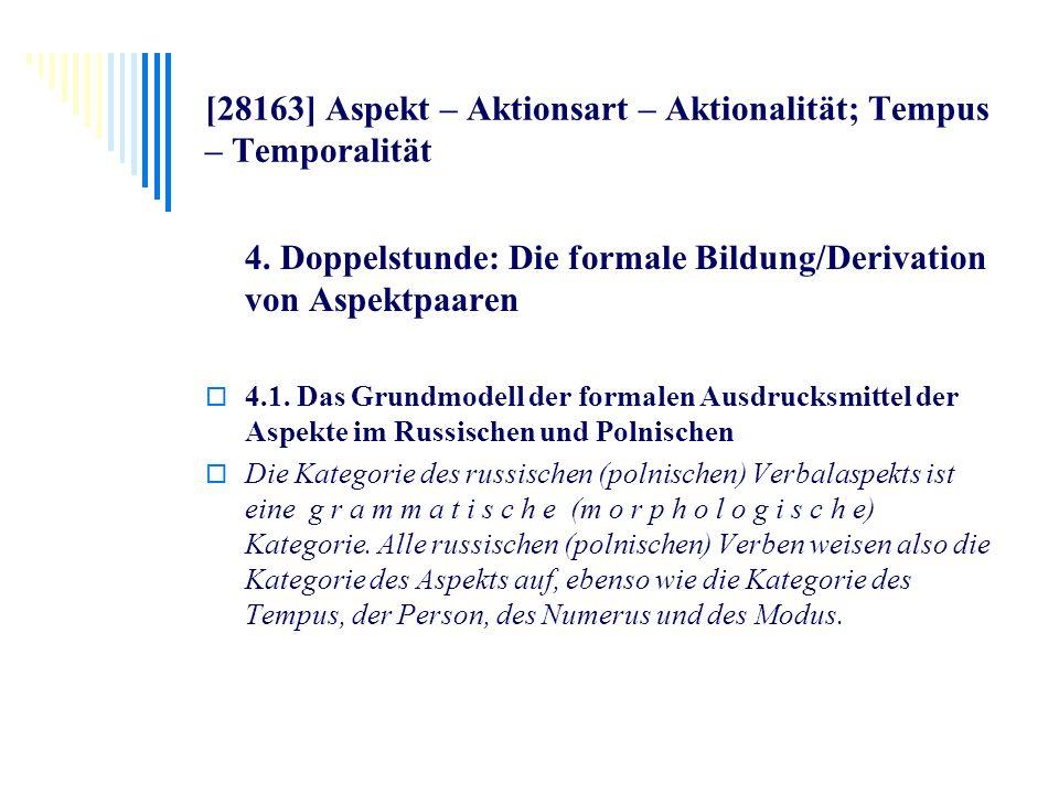 [28163] Aspekt – Aktionsart – Aktionalität; Tempus – Temporalität 4. Doppelstunde: Die formale Bildung/Derivation von Aspektpaaren 4.1. Das Grundmodel