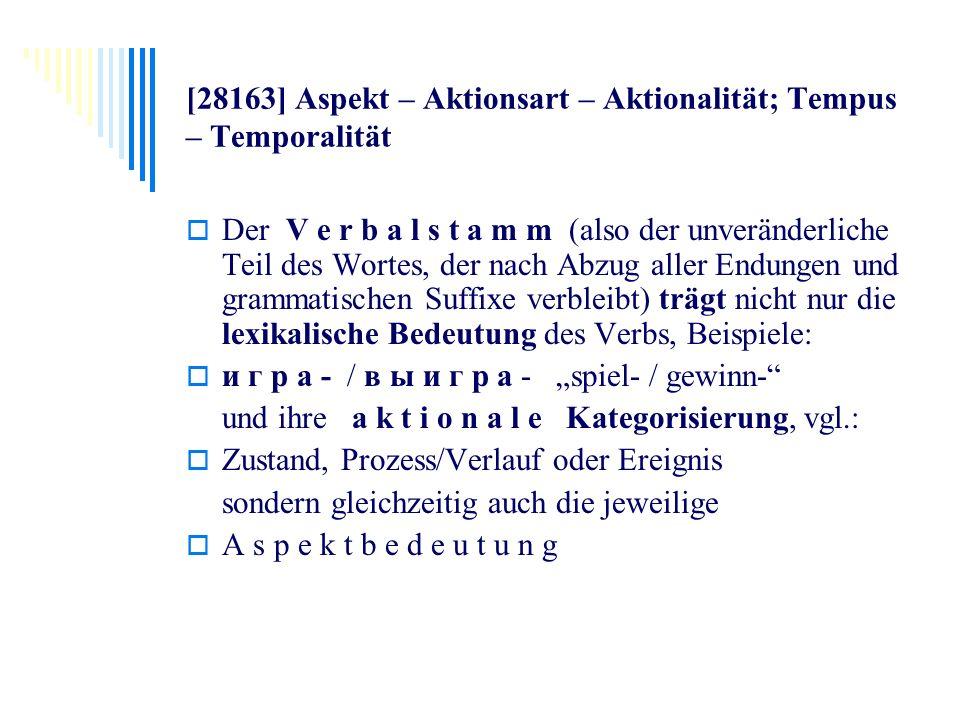 [28163] Aspekt – Aktionsart – Aktionalität; Tempus – Temporalität Der V e r b a l s t a m m (also der unveränderliche Teil des Wortes, der nach Abzug