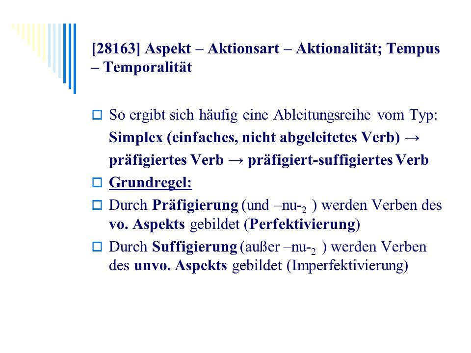 [28163] Aspekt – Aktionsart – Aktionalität; Tempus – Temporalität So ergibt sich häufig eine Ableitungsreihe vom Typ: Simplex (einfaches, nicht abgele