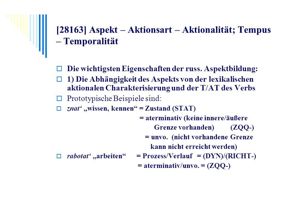 [28163] Aspekt – Aktionsart – Aktionalität; Tempus – Temporalität Die wichtigsten Eigenschaften der russ. Aspektbildung: 1) Die Abhängigkeit des Aspek